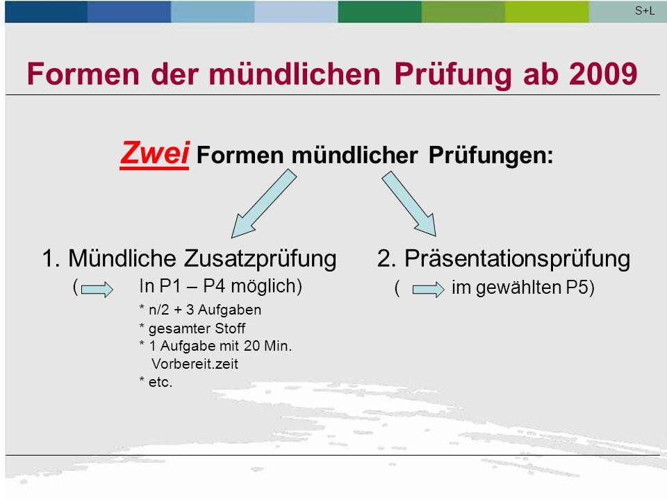 Formen der mündlichen Prüfung ab 2009