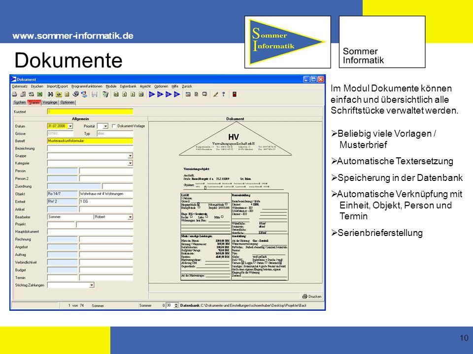 Dokumente Im Modul Dokumente können einfach und übersichtlich alle Schriftstücke verwaltet werden. Beliebig viele Vorlagen / Musterbrief.