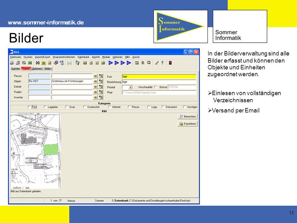 Bilder In der Bilderverwaltung sind alle Bilder erfasst und können den Objekte und Einheiten zugeordnet werden.