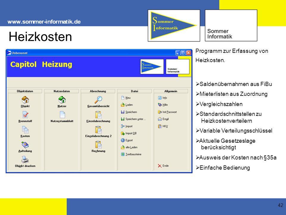 Heizkosten Programm zur Erfassung von Heizkosten.