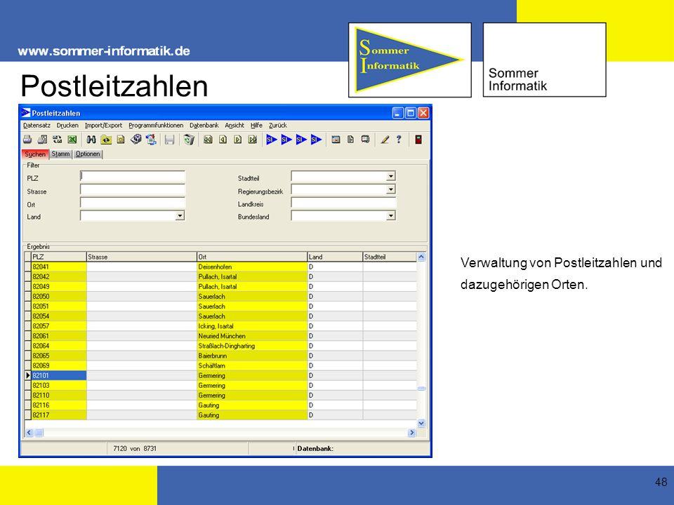 Postleitzahlen Verwaltung von Postleitzahlen und dazugehörigen Orten.