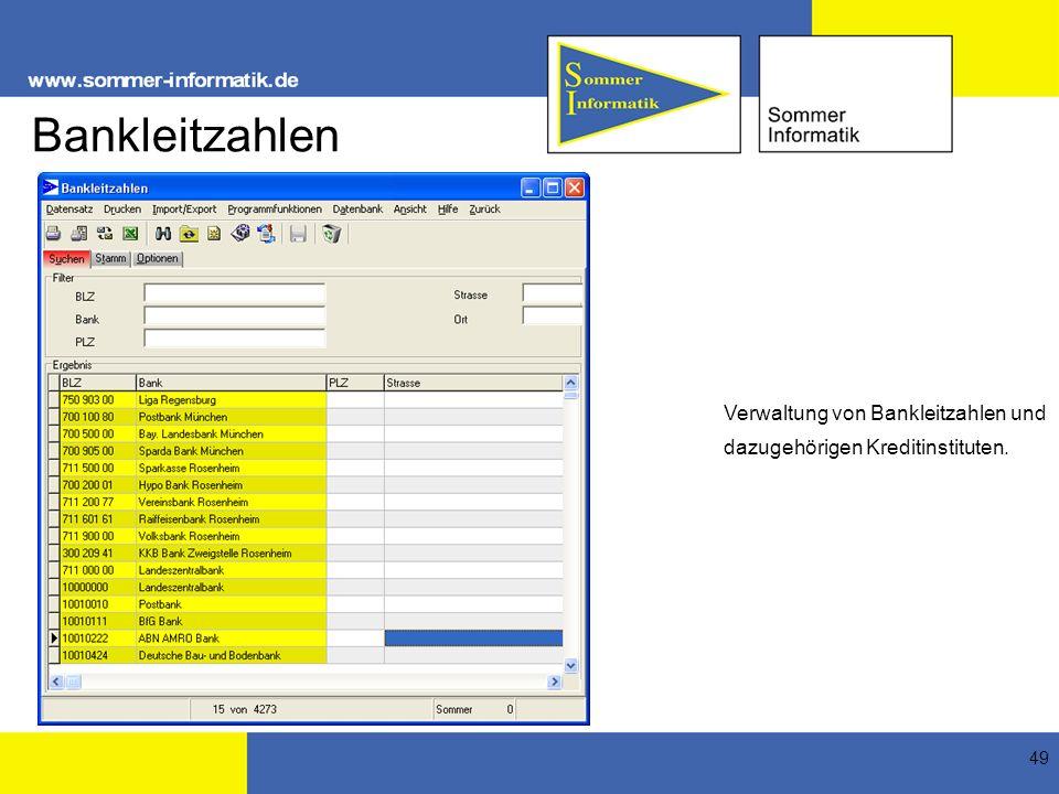 Bankleitzahlen Verwaltung von Bankleitzahlen und dazugehörigen Kreditinstituten.