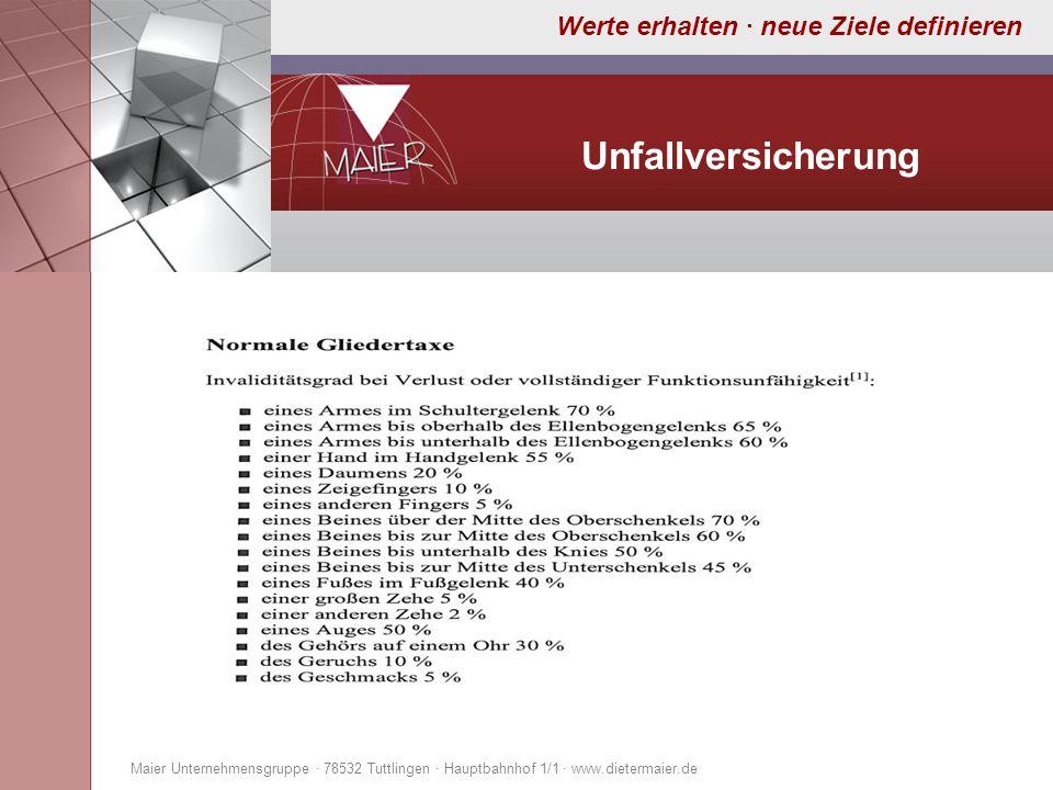 UnfallversicherungMaier Unternehmensgruppe · 78532 Tuttlingen · Hauptbahnhof 1/1 · www.dietermaier.de.