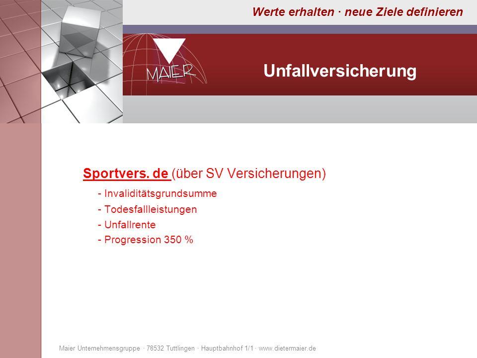 Unfallversicherung Sportvers. de (über SV Versicherungen)