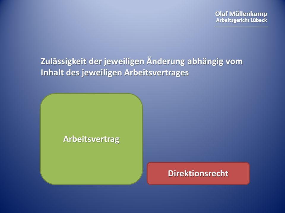 Zulässigkeit der jeweiligen Änderung abhängig vom Inhalt des jeweiligen Arbeitsvertrages