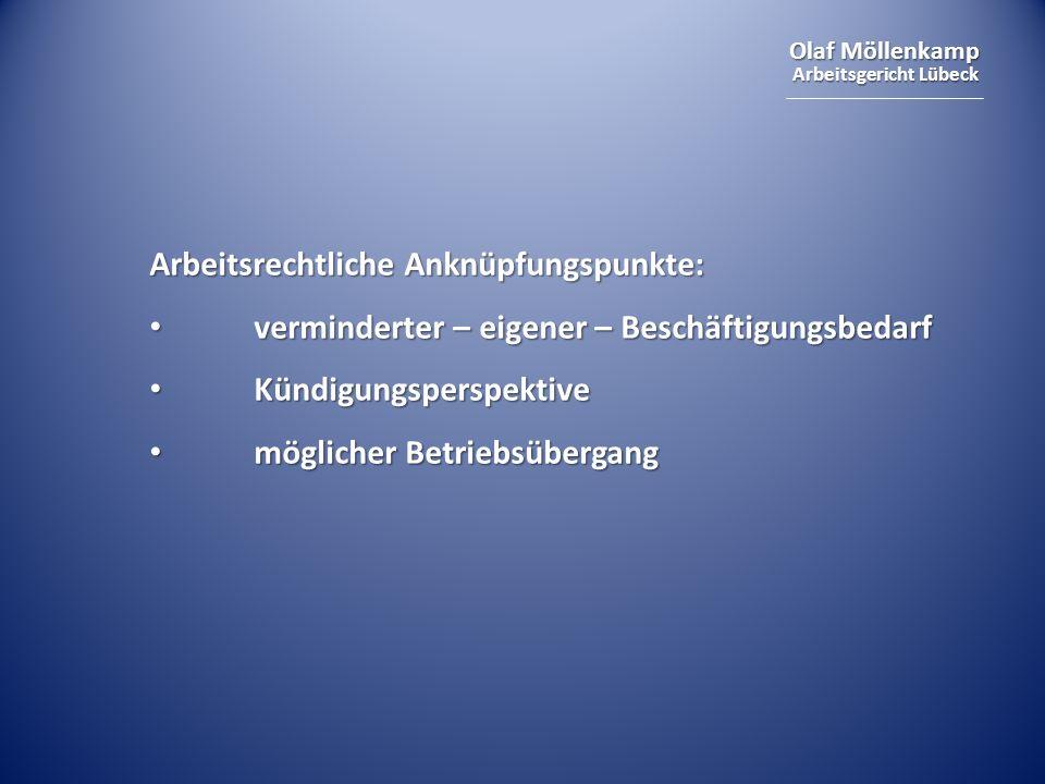 Arbeitsrechtliche Anknüpfungspunkte: