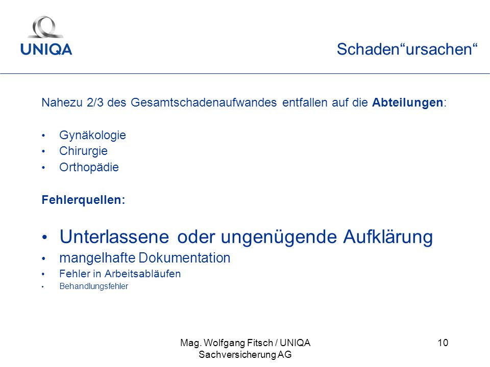Mag. Wolfgang Fitsch / UNIQA Sachversicherung AG