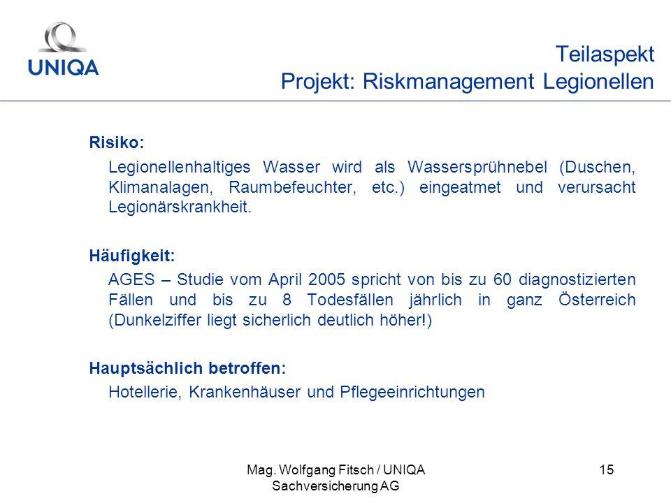 Teilaspekt Projekt: Riskmanagement Legionellen