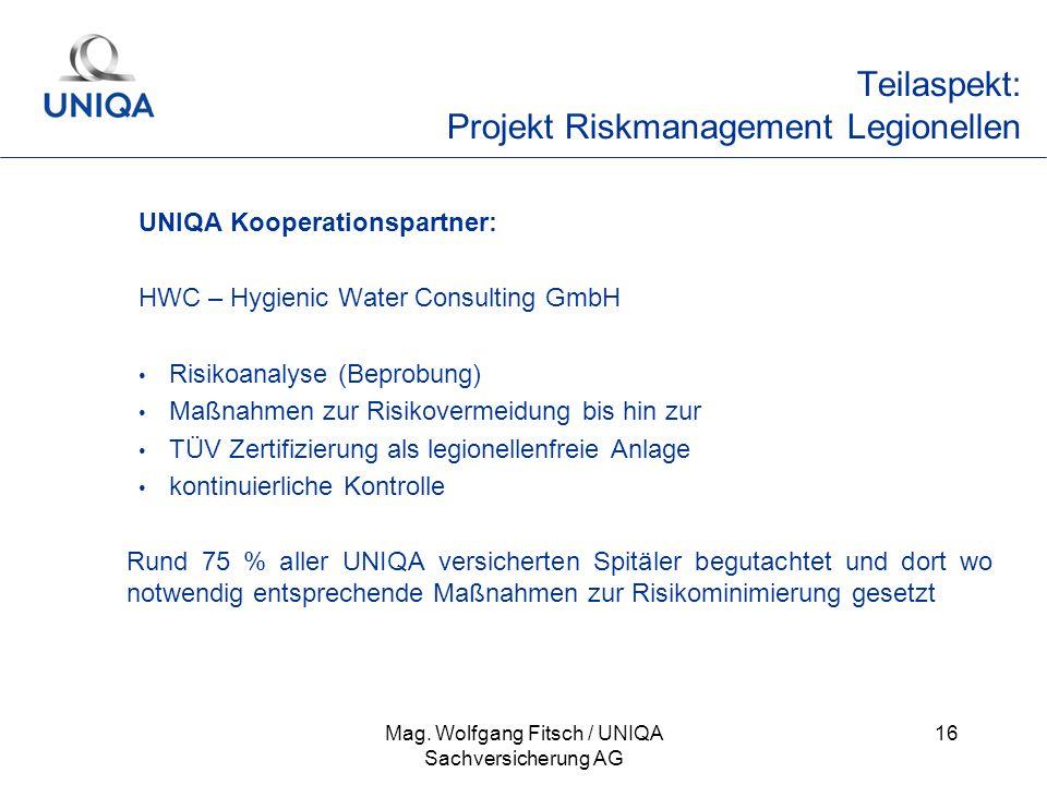 Teilaspekt: Projekt Riskmanagement Legionellen