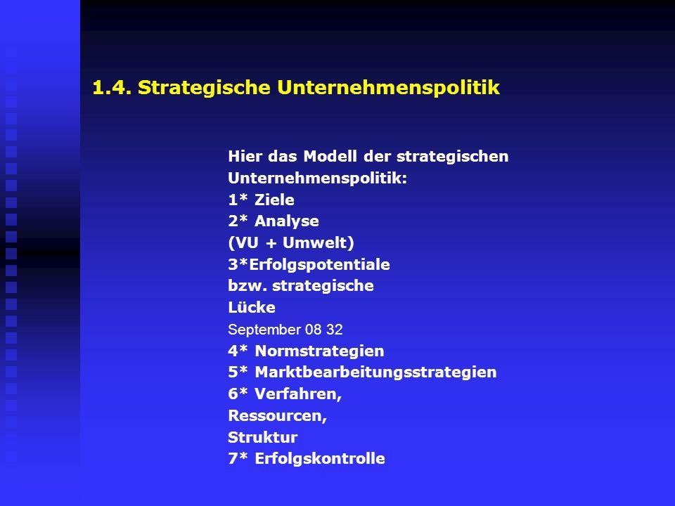 1.4. Strategische Unternehmenspolitik