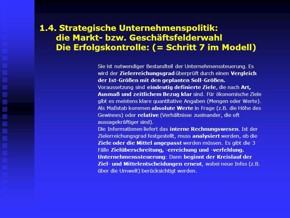 1. 4. Strategische Unternehmenspolitik: die Markt- bzw