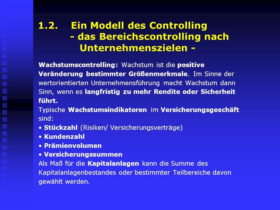 1.2. Ein Modell des Controlling - das Bereichscontrolling nach Unternehmenszielen -