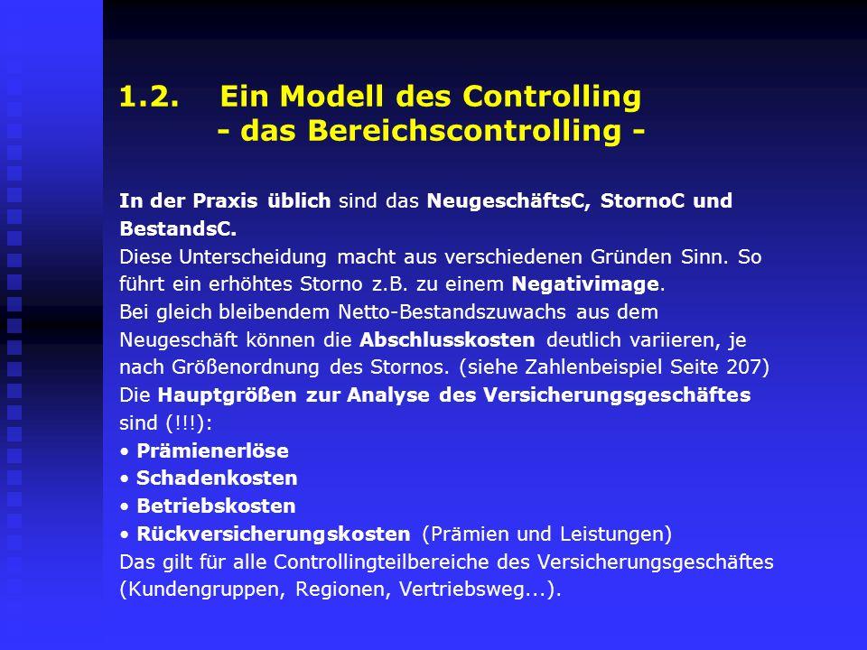 1.2. Ein Modell des Controlling - das Bereichscontrolling -