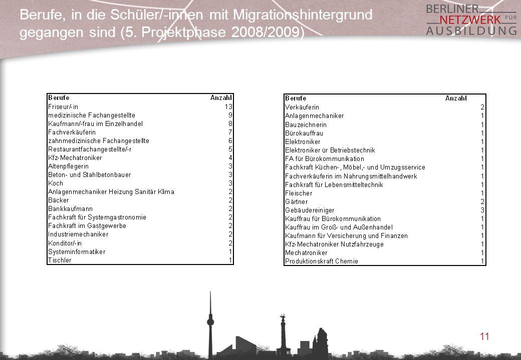 Berufe, in die Schüler/-innen mit Migrationshintergrund gegangen sind (5. Projektphase 2008/2009)