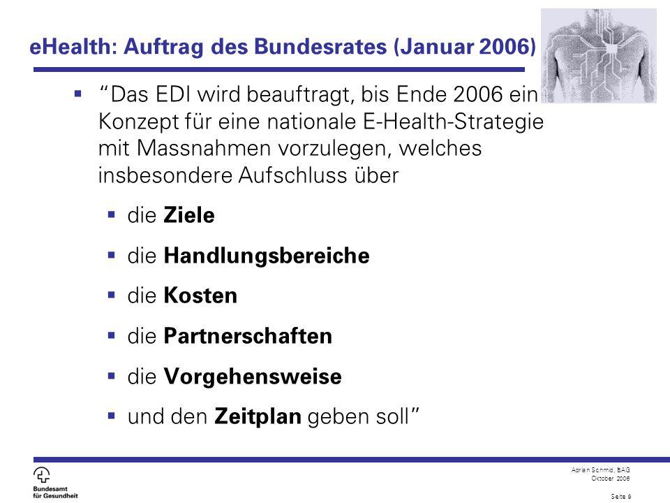 eHealth: Auftrag des Bundesrates (Januar 2006)