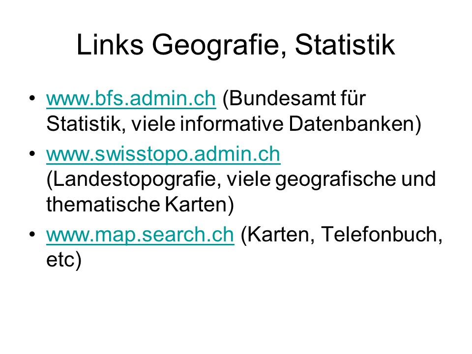 Links Geografie, Statistik