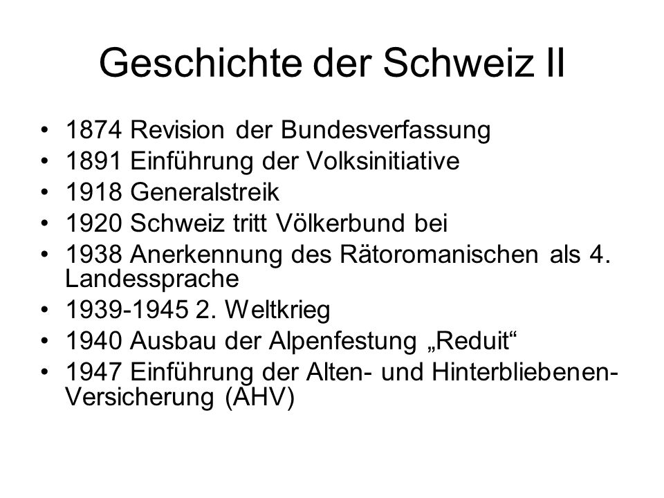 Geschichte der Schweiz II