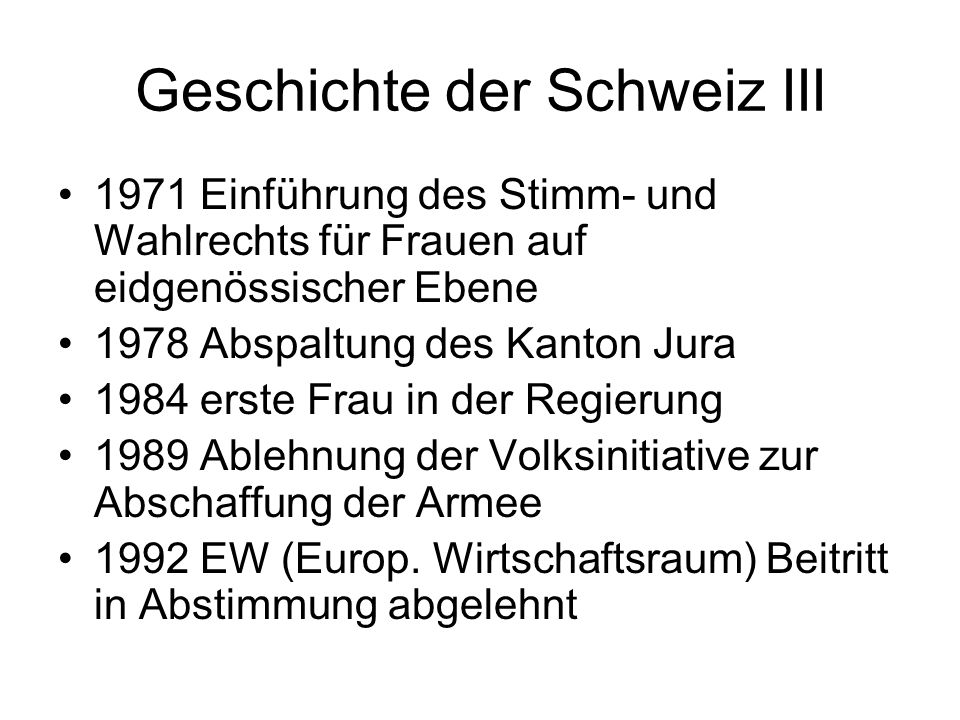 Geschichte der Schweiz III