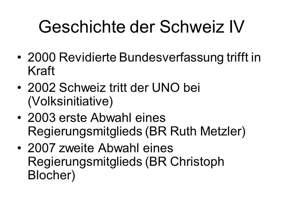Geschichte der Schweiz IV
