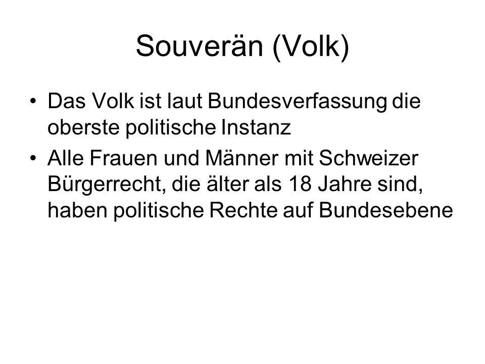 Souverän (Volk) Das Volk ist laut Bundesverfassung die oberste politische Instanz.