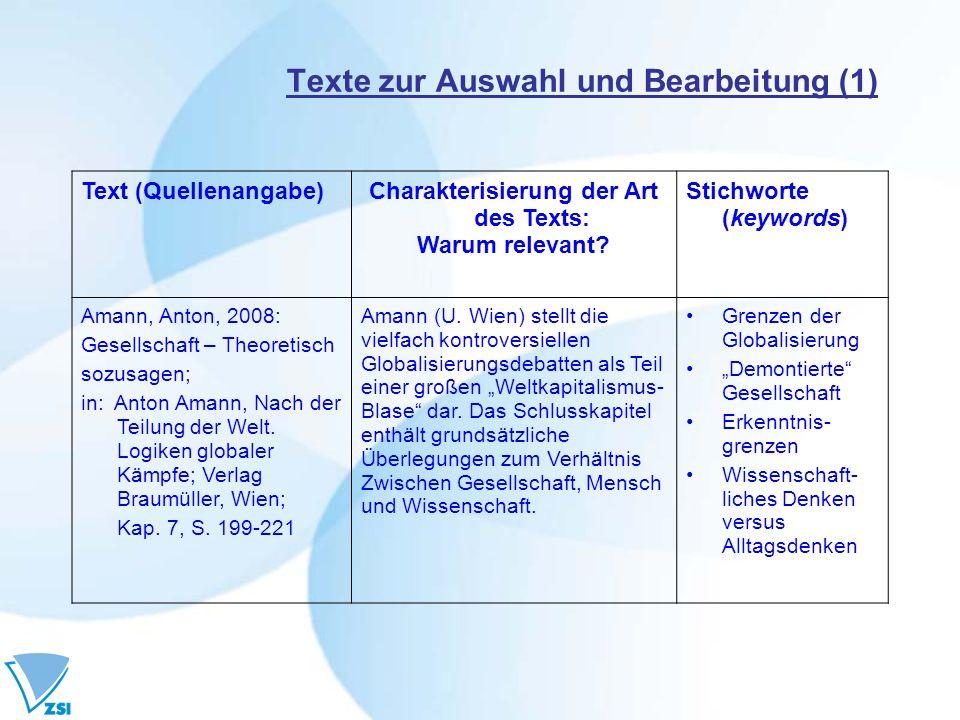 Texte zur Auswahl und Bearbeitung (1)