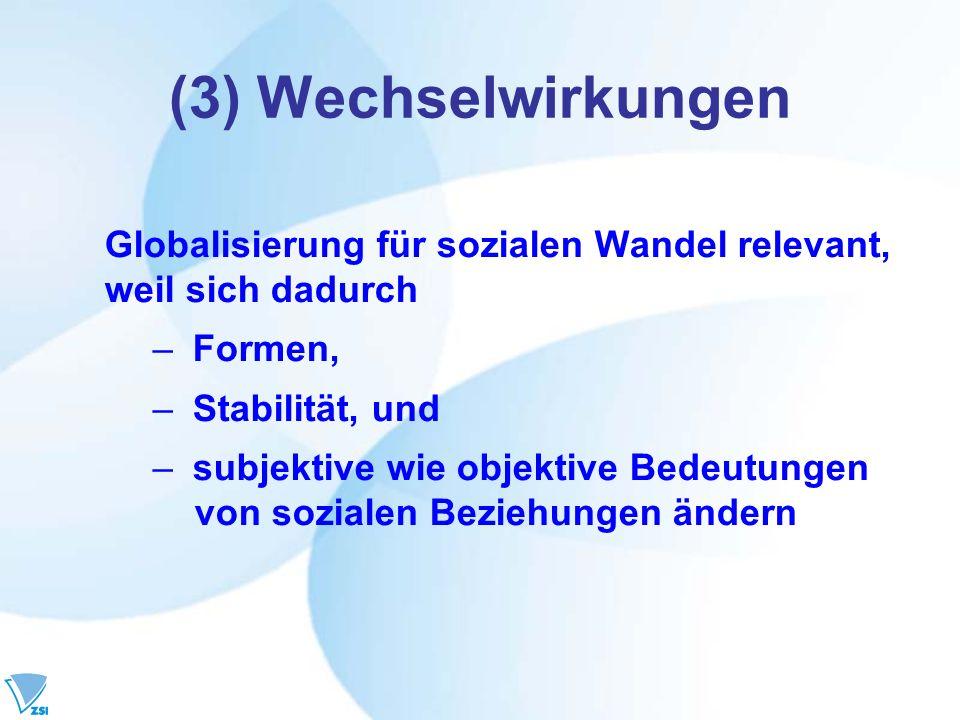 (3) Wechselwirkungen Globalisierung für sozialen Wandel relevant,