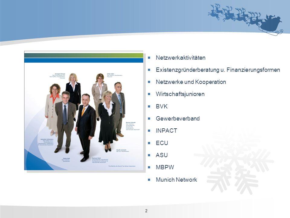 Netzwerkaktivitäten Existenzgründerberatung u. Finanzierungsformen. Netzwerke und Kooperation. Wirtschaftsjunioren.