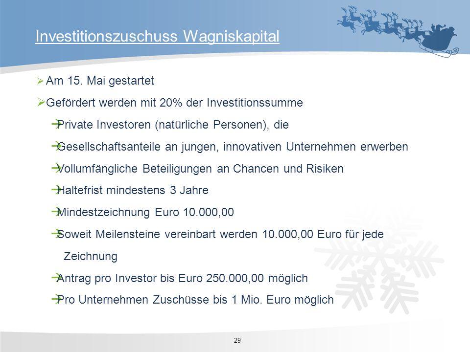 Investitionszuschuss Wagniskapital