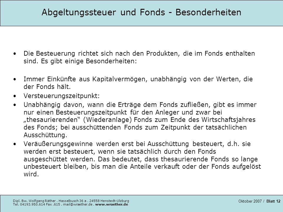 Abgeltungssteuer und Fonds - Besonderheiten