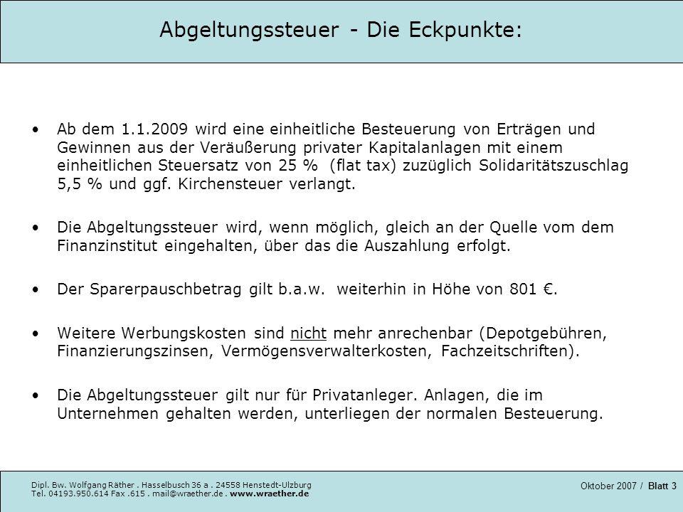 Abgeltungssteuer - Die Eckpunkte: