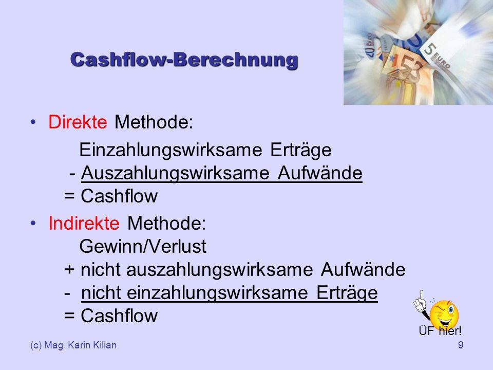 Einzahlungswirksame Erträge - Auszahlungswirksame Aufwände = Cashflow