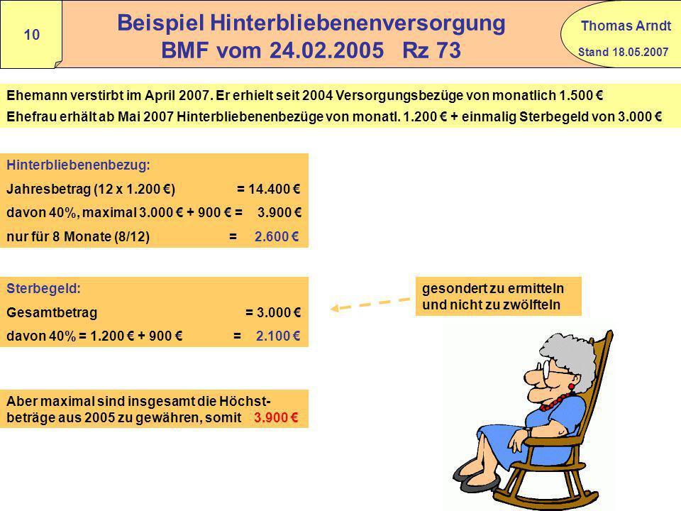 Beispiel Hinterbliebenenversorgung BMF vom 24.02.2005 Rz 73