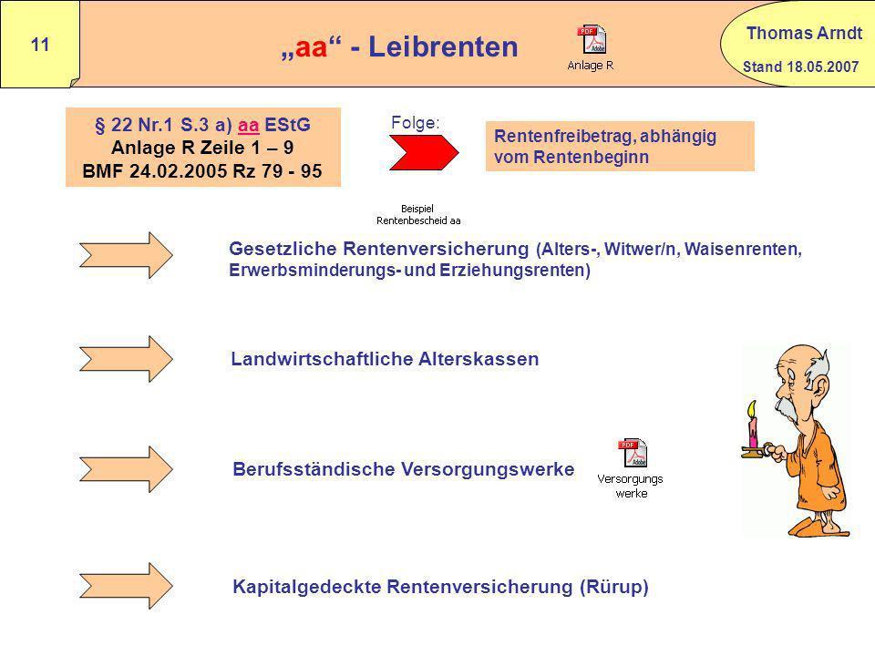 """""""aa - Leibrenten § 22 Nr.1 S.3 a) aa EStG"""