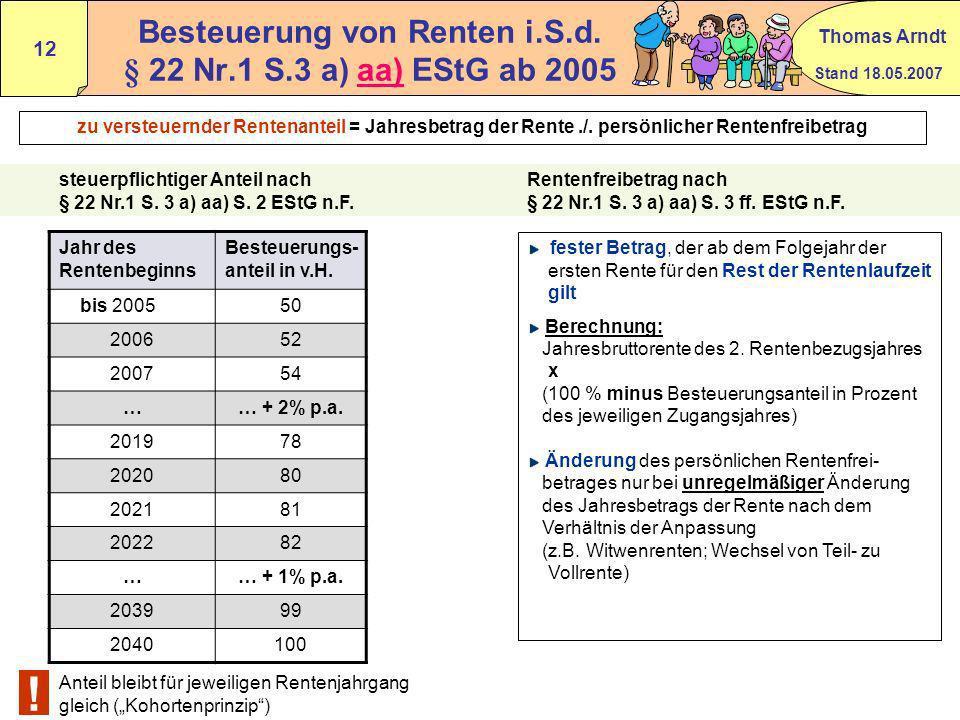 Besteuerung von Renten i.S.d. § 22 Nr.1 S.3 a) aa) EStG ab 2005