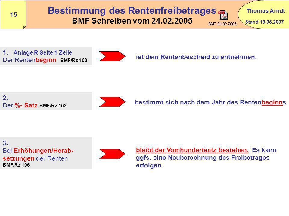 Bestimmung des Rentenfreibetrages BMF Schreiben vom 24.02.2005
