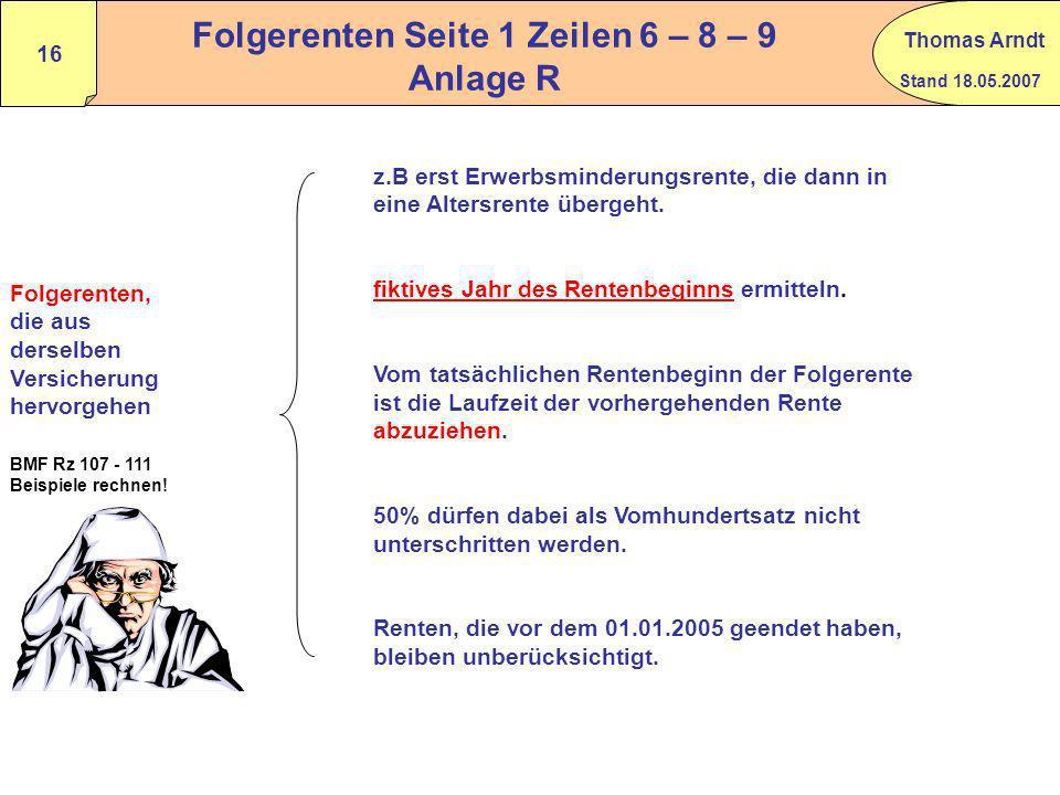 Folgerenten Seite 1 Zeilen 6 – 8 – 9 Anlage R