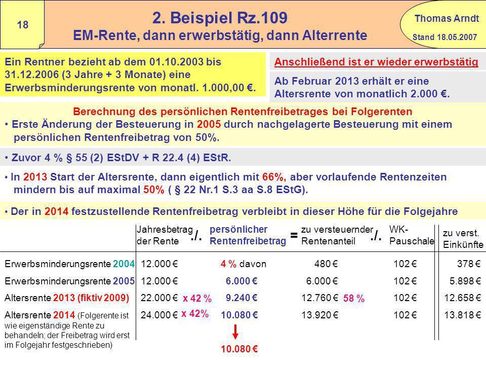 2. Beispiel Rz.109 EM-Rente, dann erwerbstätig, dann Alterrente