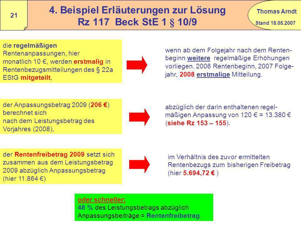 4. Beispiel Erläuterungen zur Lösung Rz 117 Beck StE 1 § 10/9