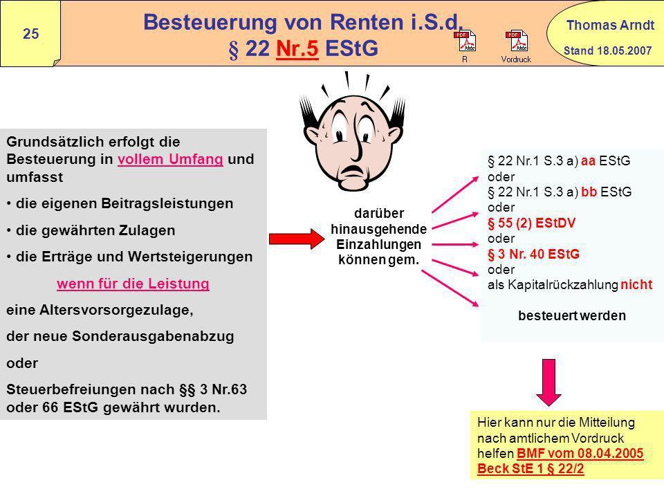 Besteuerung von Renten i.S.d. § 22 Nr.5 EStG