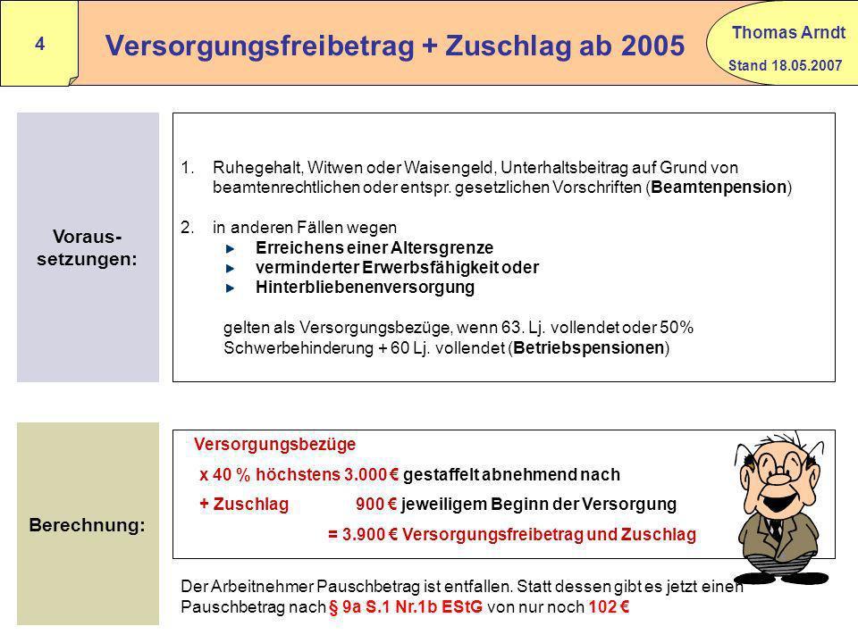 Versorgungsfreibetrag + Zuschlag ab 2005
