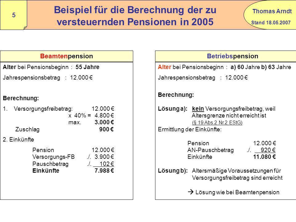 Beispiel für die Berechnung der zu versteuernden Pensionen in 2005