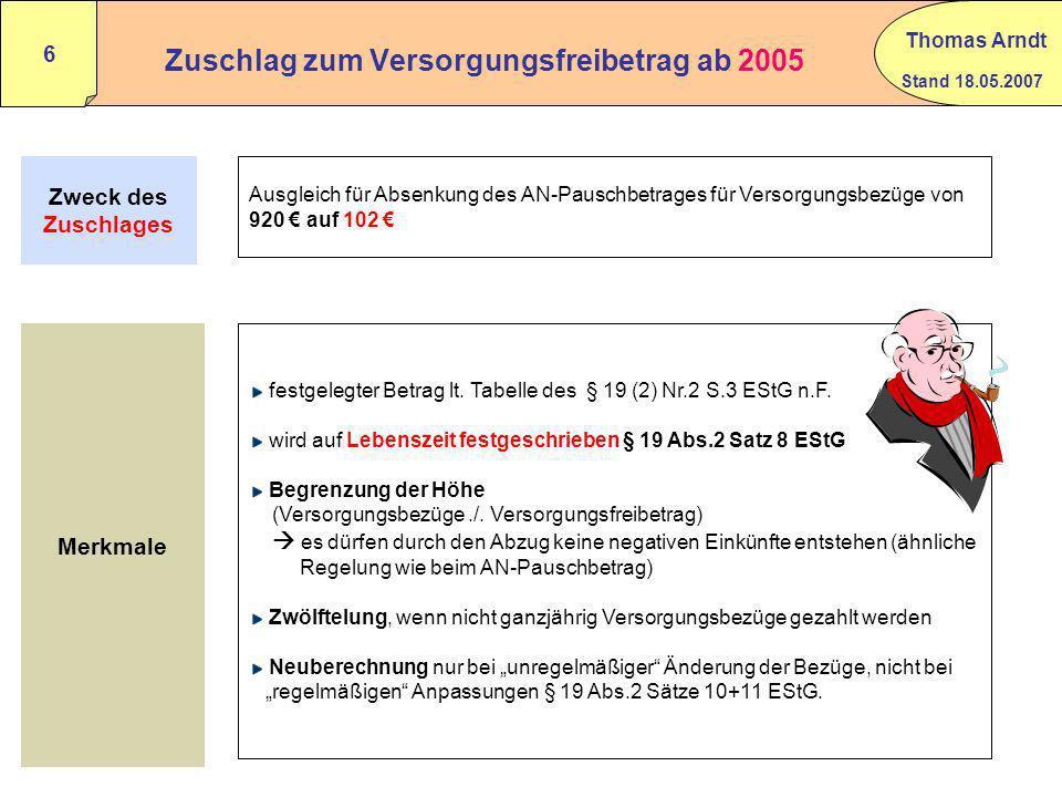 Zuschlag zum Versorgungsfreibetrag ab 2005
