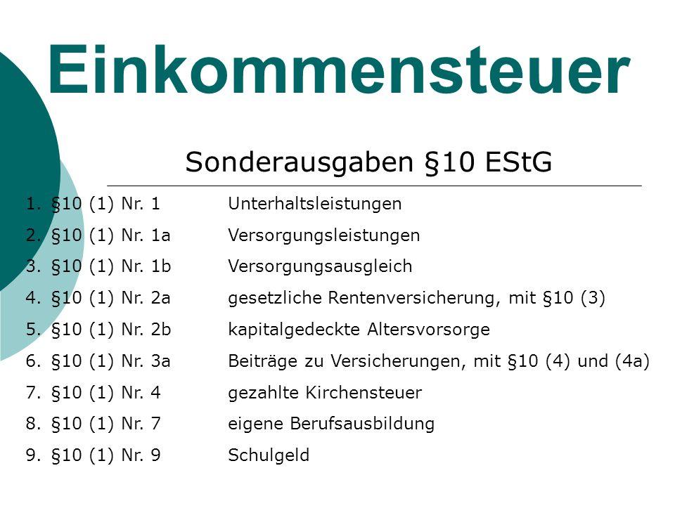 Einkommensteuer Sonderausgaben §10 EStG