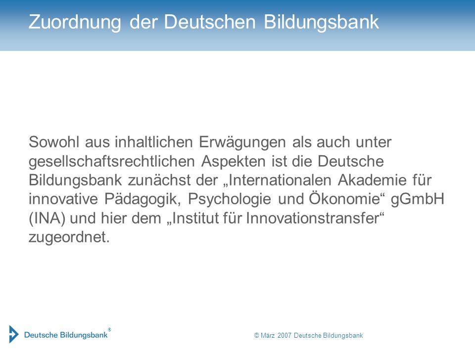 Zuordnung der Deutschen Bildungsbank