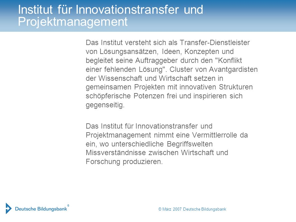 Institut für Innovationstransfer und Projektmanagement
