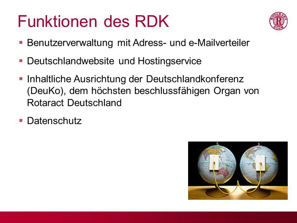 Funktionen des RDK Benutzerverwaltung mit Adress- und e-Mailverteiler