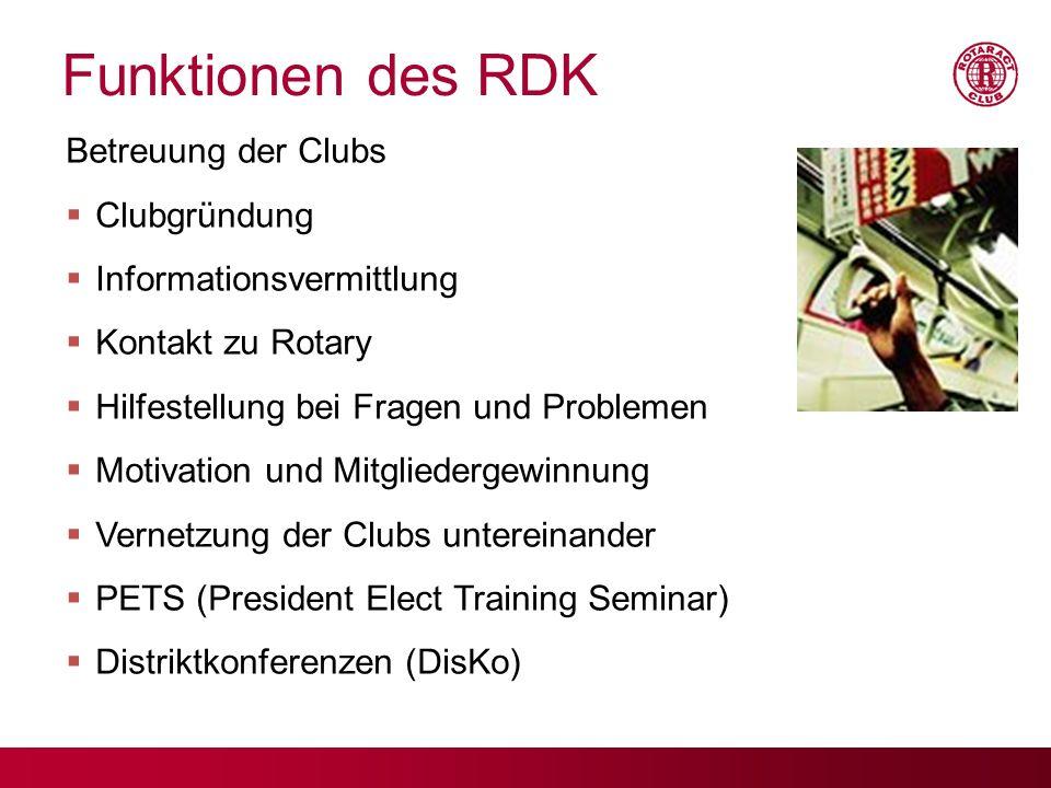 Funktionen des RDK Betreuung der Clubs Clubgründung