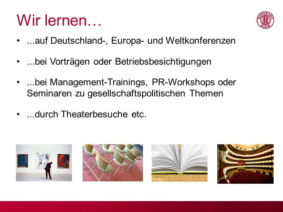 Wir lernen… ...auf Deutschland-, Europa- und Weltkonferenzen