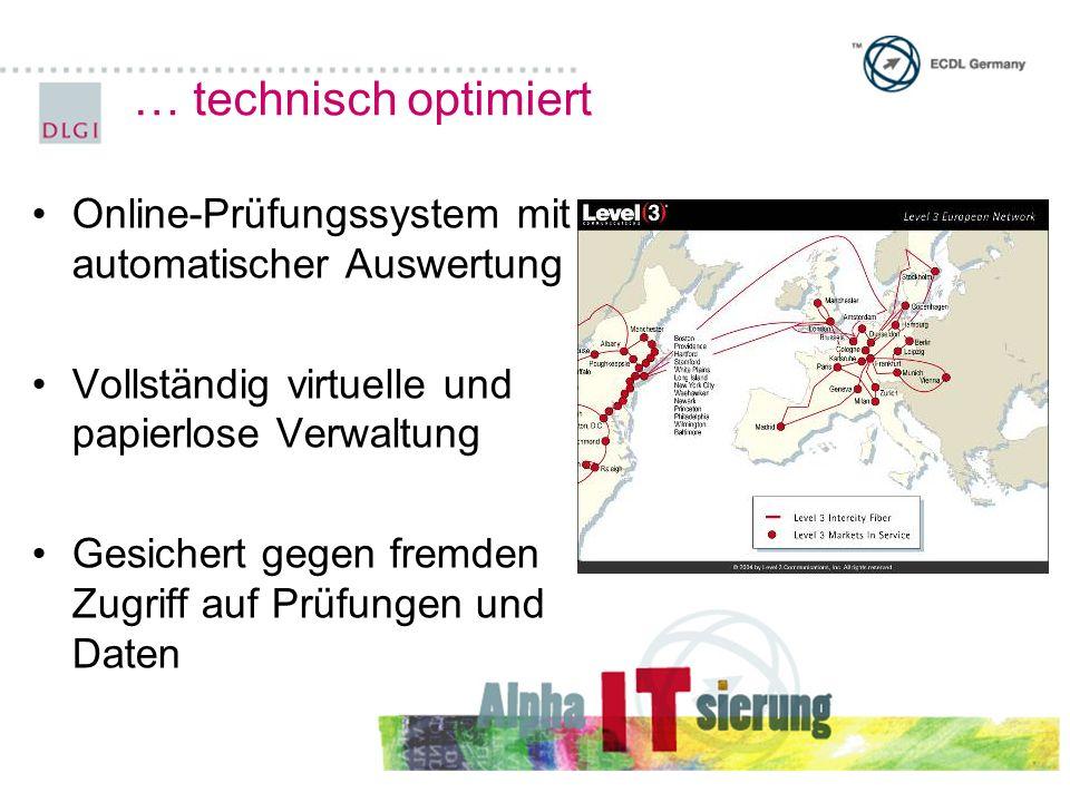 … technisch optimiert Online-Prüfungssystem mit automatischer Auswertung. Vollständig virtuelle und papierlose Verwaltung.