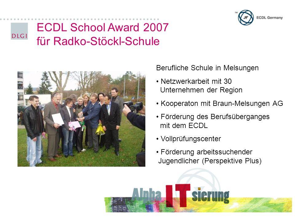 ECDL School Award 2007 für Radko-Stöckl-Schule